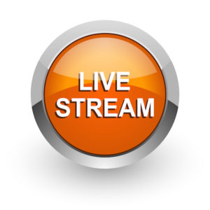 live stream orange glossy web icon