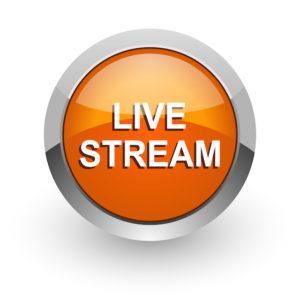 live stream orange glossy web icon